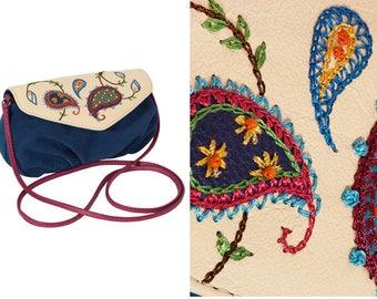 Leather clutch purse gift|for|wife embroidery handbag crossbody purse shoulder handbag suede purse small suede bag paisley bag suede clutch