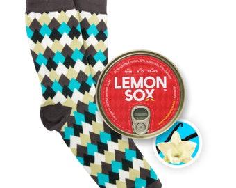 Mountaintops / Vanilla, Scented And Canned socks, mens socks, colorful socks, cool mens gift, boyfriend gift socks, birthday gift