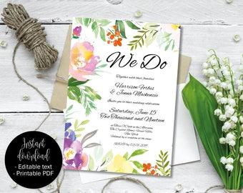 Invitation Wedding Template, Printable, Editable, DIY Wedding, PDF Invite, Day Evening Reception Invite, Rustic Flowers, Border 7 INV-7