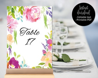 Wedding Table Numbers Template, Table Numbers Wedding, Table Names Wedding Printable Instant Download Watercolor Floral Centrepiece BORDER-6
