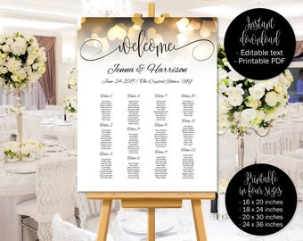 Gold Hearts Wedding Seating Chart Template, Wedding Seat Plan Printable, Wedding Table Plan, Table Plan, Seating Chart Plan, Seating Plan