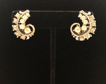 1950's Vintage Pearl and Rhinestone Earrings