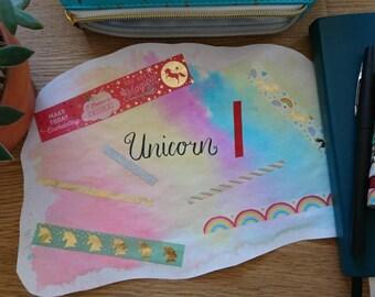 Washi Tape Sample Set Unicorn, 8 x 1m on 2 Sample Cards