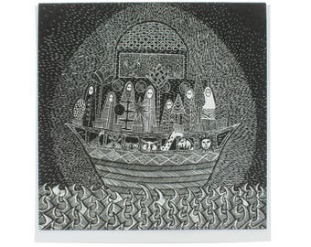 """Noah's Ark greeting card, religious card, christening card, blank card 5.25"""" square card, baptism card, communion card"""