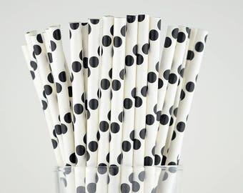 Black Polka Dots Paper Straws - Mason Jar Straws - Party Decor Supply - Cake Pop Sticks - Party Favor