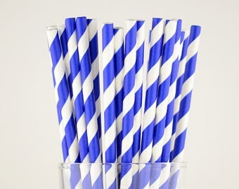 Sapphire Blue Striped Paper Straws - Mason Jar Straws - Party Decor Supply - Cake Pop Sticks - Party Favor