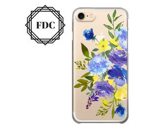 iPhone 7 case Blue Floral iPhone 7 Plus clear case, iPhone 6 / 6 Plus Case, iPhone 5s / 5 / SE Case, iPhone case Plastic /rubber.