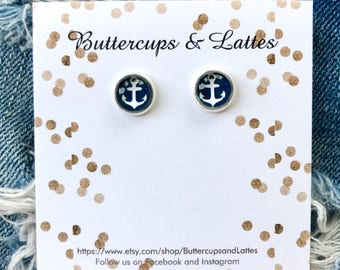 Small Navy and White Anchor Stud Earrings 8mm, Nautical Anchor Earrings