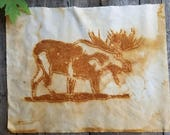 Large Rust-Printed Montana Moose Cotton Fragment #2