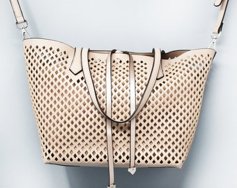 Diamond Perforated Satchel Bag (3 color choices)