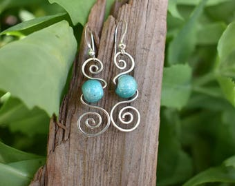 Spiral turquoise earings