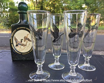 """Federal Glass, Set of Four (4) """"Sportsman"""" Themed Pilsner Beer Glasses - Four (4) Glasses - Pheasant, Canvasback, Grouse, Canada Goose,"""