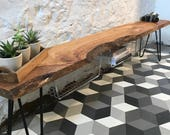 Large Oak Live Edge Bench with Storage