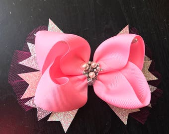 Pink double spiked hair bow