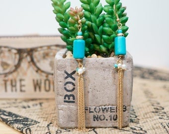 Dangle Earring Turquoise Sphere with Gold Tone Chain Tassel Pearl and Turquoise Beads Accent