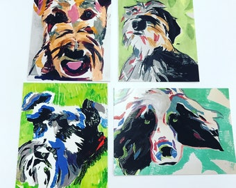 Dog mono prints - set of four postcards