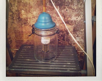 Blue metal jar lamp