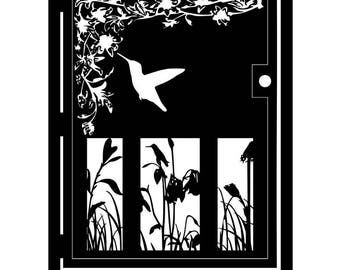 Artistic Metal Fairy Gate - Security Gate - Hummingbird - Outdoor Steel Art - Hummingbird in a Garden Gate - Hanging Garden - Wall Panel
