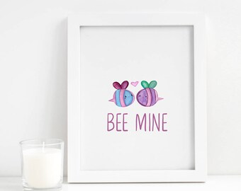 Bee Mine Printable - Valentine's Day Printable - Be Mine Printable - Valentine's Day Decor - Valentine's Gift - Valentine's Day Wall Art