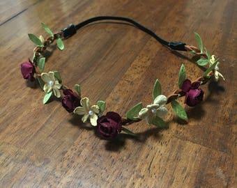 Floral Headband - Burgandy/Tan