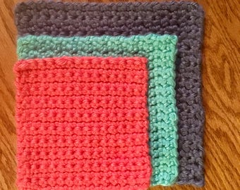 Chunky Pot Holders Set in Blue, Coral and Turquoise