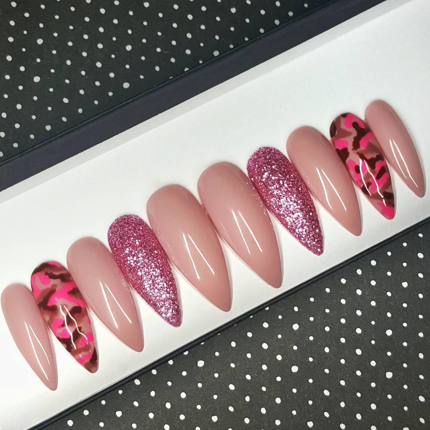Serving Pink Press on Nails   False Nails   Stick on Nails   Fake ...