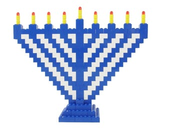 Menorah Set - Blue and White - Jewish Custom Lego® Set from JBrick