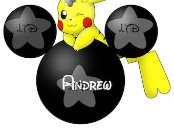 Pikachu and Mickey Head Personalized Iron On Transfer