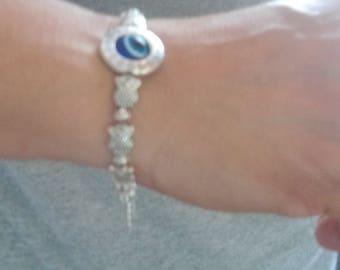 Silver tone bracelet, evil eye protection bracelet, charm bracelet, owl charm, amulet, meaningful bracelet