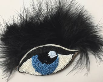 Evil Eye Embroidered Beaded Patch Pin Badge Feathers Unique Brooch Gift Best friend Gift