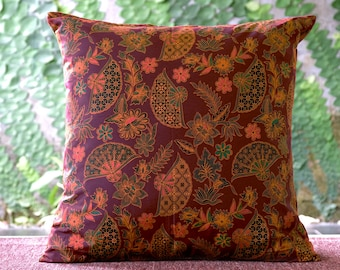 floral pillow | throw pillow | cushion cover | decorative pillow | batik | cushion | pillow | red | pillow sham | home decor | gift for her