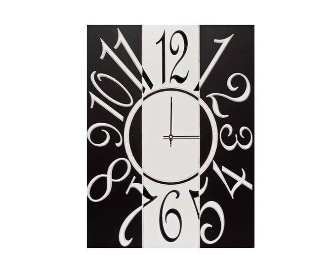 """18"""" x 24"""" Wall Clock, Wall Clock, Custom Wall Clock, Rectangle Wall Clock, Black & White Wall Clock, Unique Wall Clock, Modern Wall Clock"""