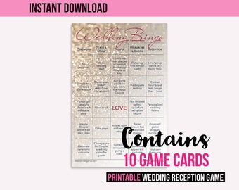 Wedding Bingo Instant Download: The Wedding Reception Game (10 cards)