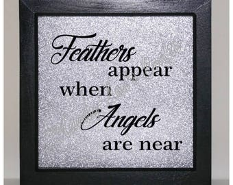 Feathers appear when angels are near... Vinyl Frame