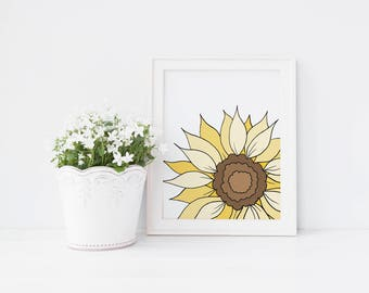 Sunflower, Wall Art Print, Instant Download, Printable Art, Hand Drawn, Floral Print