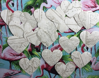 20 x vintage map look wallpaper hearts. Paper ephemera. Scrapbooking, travel journal, junk journal, smash book, card making