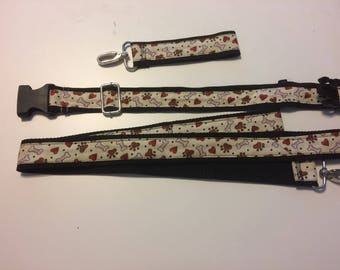 brown paw, red heart dog leash 3 piece set