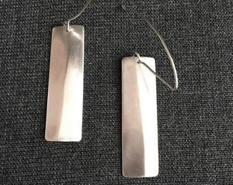 Angled Sterling Silver Drop Earrings