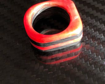 Ferrari red carbon fibder ring