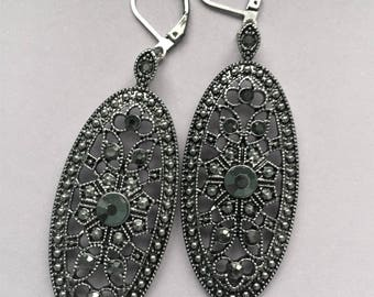 Vintage Design Earrings / Dangle Earrings / Faux Marcasite Earrings / Art Deco Earrings / Statement Earrings / Gift Idea / Bridesmaid Gift