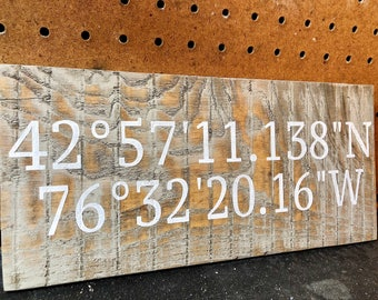 GPS coordinates sign, farmhouse, custom sign, anniversary gift