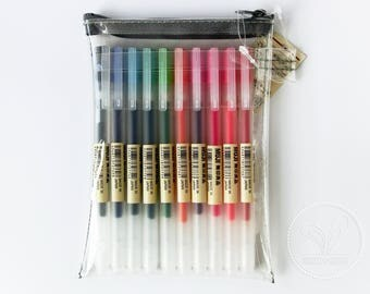 10Pcs - Muji 0.38mm Gel Ink Pens with TPU Pen Case - Limited Edition