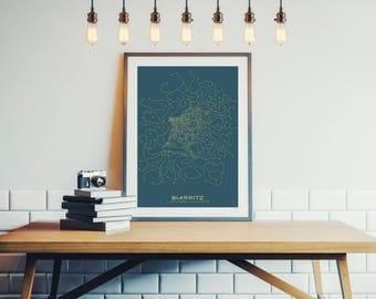 Design Biarritz poster - Plan minimalist 30x40cm