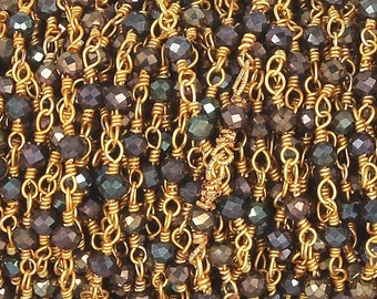50% off 5 Feet Beautiful Black Spinel Brown Coated Beaded Chain 3mm Rosary Chain,Black Spinel Brown Coated Gold Wire Wrapped Chain CH157