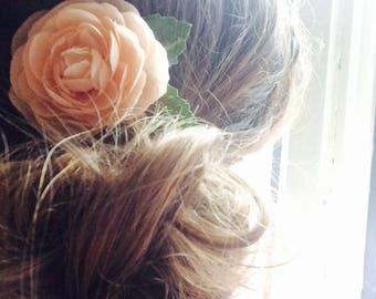 Bridal Peach Flower Hair Pin