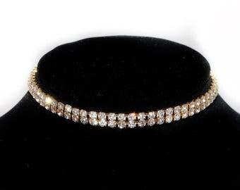 Rhinestone choker, gold crystal choker, diamond choker, jewel necklace, rhinestone crystal accessory, costume jewelry, statement piece