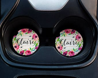Floral Personalized Car Coasters - Floral Car Coasters - Personalized Car Coasters - Sandstone Car Coasters - Personalized  Gifts - Floral