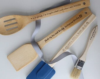 Funny HANGRY INSTAGRAM Custom Bakers Gift. Custom Cook Gift. Personalized, custom engraved wood utensil spoon and silicone spatula.