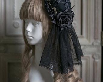 Black Lolita Mini Top Head with Black Roses & Veil