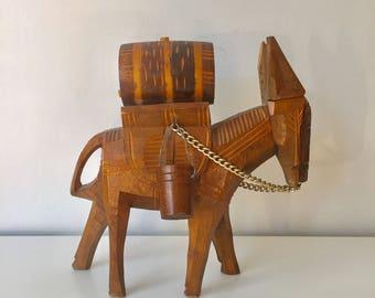 Wooden donkey, vintage decor, boho decor